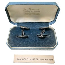 Vintage Cufflinks 9K Gold on Sterling Silver circa 1930-40's