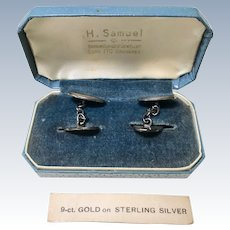 Vintage Cufflinks 9K Gold on Sterling Silver circa 1930-40's