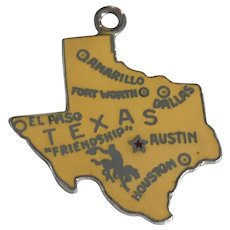 Texas US State Vintage Charm Colorful Enamel Sterling Silver
