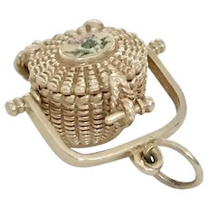 Nantucket Basket Moving Charm 14K Gold Scottish Thistle Accent, Glenaan