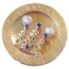Big Jeweled Castle Vintage Charm 14K Gold Sapphire & Baroque Pearl