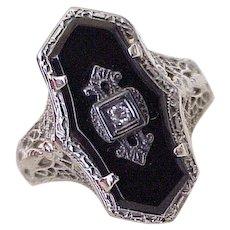 Art Deco Era Filigree Ring 14K White Gold Onyx & Diamond