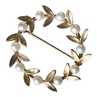 Laurel Wreath Vintage Brooch / Pin 14K Gold Cultured Pearl