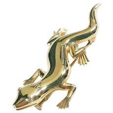 Lizard / Salamander Brooch 18K Diamond Eyes 17 Grams