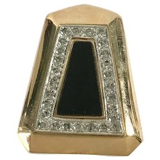 Custom Slide Pendant 14K Two-Tone Gold Diamond & Onyx