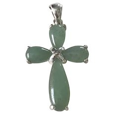 Jade Cross Pendant Sterling Silver