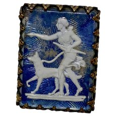 Diana Mythological Huntress Intaglio Reverse Painted Brooch, Victorian