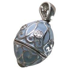 Faberge Style Egg Pendant / Charm Pill Box Sterling Silver, Enamel, CZ