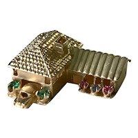 Big Jeweled House Charm 14K Gold Three-Dimensional