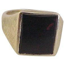 Gents Bloodstone / Heliotrope Vintage Ring 14K Gold
