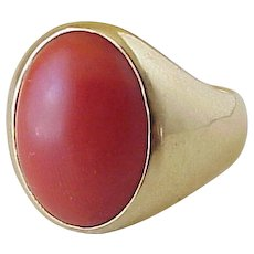 Gents Red Coral Vintage Ring 14k Gold