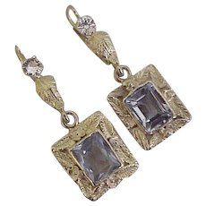 Vintage Gemstone Dangle Earrings circa 1950's 14K Gold Blue Topaz & Spinel 7.18 TGW
