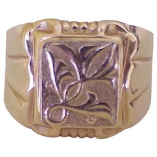 Handsome Gents Ring Ornate Topped Signet 14K Gold Russian Hallmarks