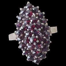 Bohemian Garnet Ring 830 Silver Gold Wash, Swedish Hallmarks
