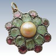 Georgian Pendant Natural Pearl, Emerald & Ruby in Sterling Silver
