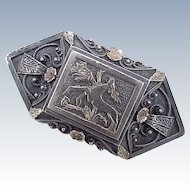 Georgian Era Brooch Sterling Silver & 12k Gold, Stag & Thistle Motif