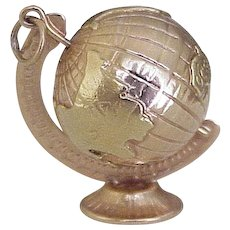BIG Vintage Spinning / Moving GLOBE on Stand 18K Rose & Yellow Gold