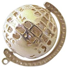 Vintage Moving GLOBE Charm 14K Gold Three Dimensional Ruby Accent