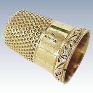 Edwardian 14K Gold Sewing Thimble , Size 7 MW&Co