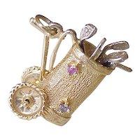 Vintage Jeweled Moving Golf Bag & Clubs Charm 14k Gold Three Dimensional circa 1950-60's
