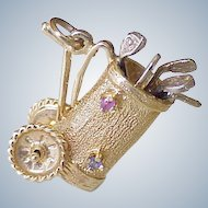 Vintage Jeweled Moving Golf Bag & Clubs Charm 14k Gold Three Dimensional circa 1950-60's