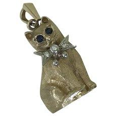 Jeweled Kitty Cat Vintage Charm Three-Dimensional SOLID 14K Gold Sapphire & Diamond