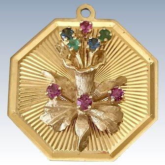 Big Jeweled Vintage Orchid Flower Charm by Henry Dankner 14K Gold
