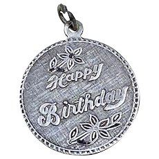 Vintage Sterling Silver Happy Birthday Charm Circa 1960's