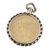 2-1/2 Pesos Gold Coin Charm / Pendant in 14K Gold Frame 1945