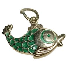Colorful Green Enameled Fish Vintage Charm 14K Gold Three-Dimensional