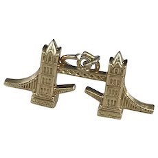 London Tower Bridge Vintage Charm 18K Gold Three-Dimensional