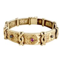 Vintage Bracelet 14k Gold Ruby & Sapphire Mid Century