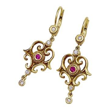 Victorian Revival Dangle Earrings 18K Gold Diamond & Ruby