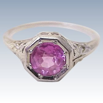 Pink Sapphire 1.35 ct Solitaire Vintage Ring 18K White Gold Filigree 1920's