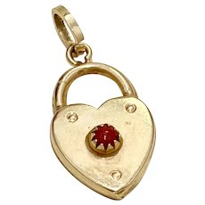 Heart Lock Jeweled Vintage Charm 18K Gold