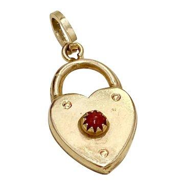Heart Lock Jeweled Vintage Charm 18K Gold