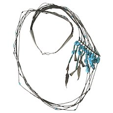 Native American Vintage Necklace Sterling Silver & Turquoise, Artistic Offset Design