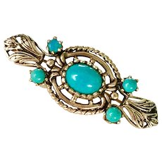 Edwardian Era Brooch 14K Gold and Turquoise