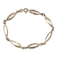 Vintage 18K Gold Three-Dimensional Navette Link Bracelet 7.15 Grams