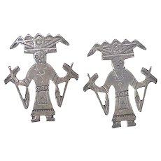 Hopi Kachina Vintage Screw-Back Earrings Sterling Silver