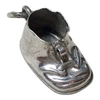 Baby Shoe Vintage Charm Sterling Silver Three-Dimensional
