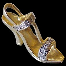 Jeweled High-Heeled Sandal Charm 14K Gold & Diamond Three-Dimensional