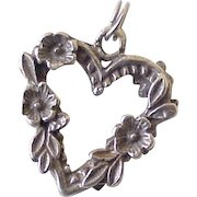 Forget Me Not Heart Charm Sterling Silver Three Dimensional circa 1940's