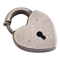 Heart Lock Clasp Charm Sterling Silver Three Dimensional Circa 1950's
