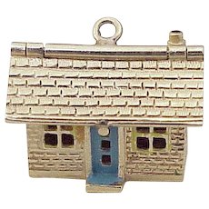 Vintage Moving Charm House / Home 14K Gold Enameled circa 1950's
