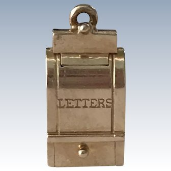 Moving US Mail Box Vintage Charm 14K Gold Three-Dimensional