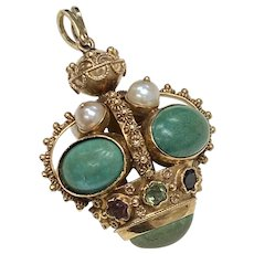 Big Jeweled Bauble Charm 18K Gold Turquoise, Pearl, Tourmaline