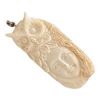Alaskan Inuit Vintage Pendant Eskimo with OWL Headdress