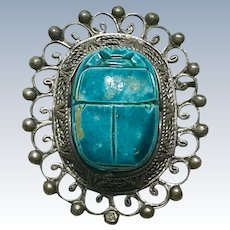 Vintage Egyptian Revival BIG Scarab Pendant Brooch circa 1920's