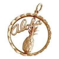 Aloha Pineapple Hawaii Vintage Charm 14K Gold Three-Dimensional